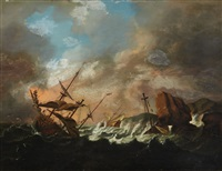 sailing ships in a storm by bonaventura peeters the elder