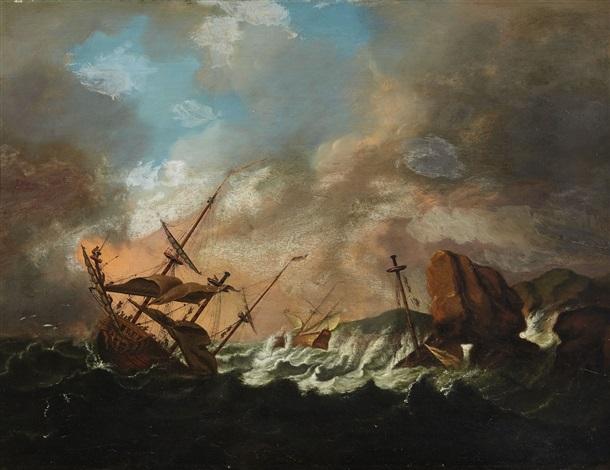 sailing ships in a storm by bonaventura peeters the elder