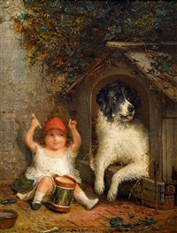 young girls with dogs (pair) by joseph henry sharp