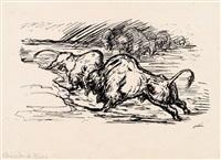 kämpfende bison by alfred kubin