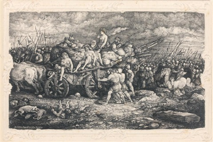 guerriers autour dun char attelé à deux boeufs et transportant enfants vieillards et femmes nues by rodolphe bresdin