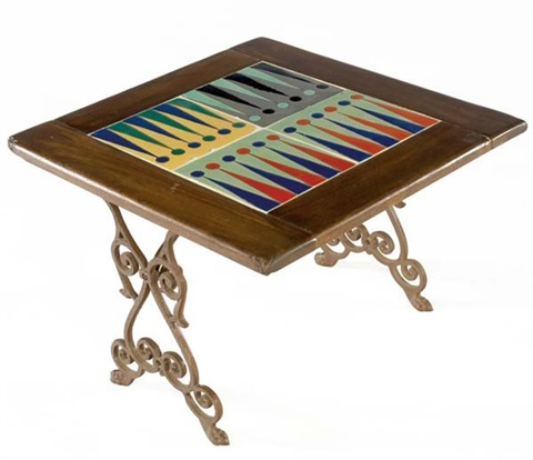 Backgammon Tile Top Table By Catalina Pottery