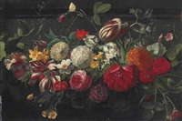 a wreath of tulips, snowballs, irises, roses and other flowers, with a brimstone butterfly: a fragment by gaspar pieter verbrüggen the elder