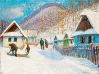 nagybánya télen (nagybánya in winter) by géza kádár