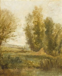 pond with poplars by charles françois daubigny