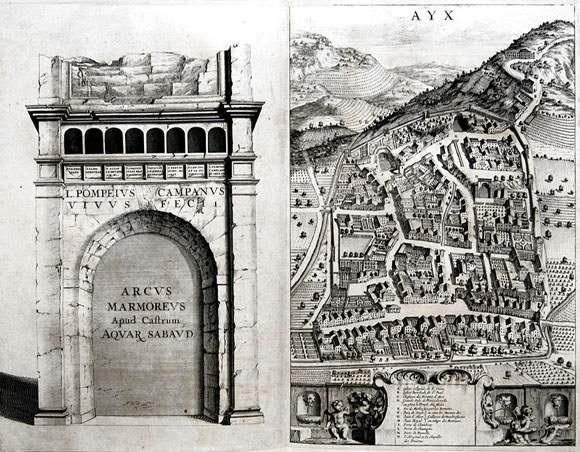 ayx et arcus marmoreus apud castrum aquar sabaud from theatrum statuum regiae celestudinis sabaudiae ducis by johannes de broen