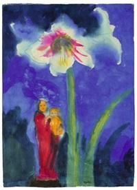 stilleben mit einer weiss blühenden amaryllis und einer roten madonnenfigur by emil nolde