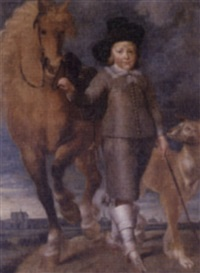 portrait of a boy standing in a landscape, the town of alkmaar in the distance by matthijs van den bergh