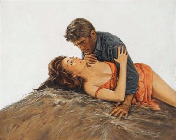 couple atop haystack by norman eastman