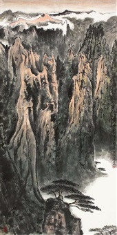 mount huang with pine and cloudy by xu congchu