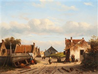 activity in a dutch village on the coast by jacques françois carabain