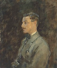 portrait of charles romer williams, profile, half-length, in a grey coat by ambrose mcevoy