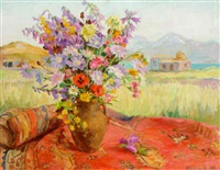 vase of flowers on a carpet by elena abramyan