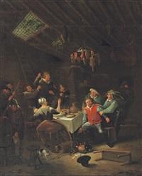 a peasant brawl in an interior by egbert van heemskerck