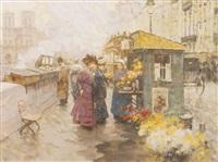 la marchande de fleurs sur les quais by victor guerrier