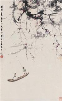 秋风吹下红雨来 立轴 设色纸本 (boating) by fu baoshi