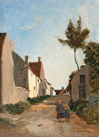 deux enfants dans un village by frédéric bazille