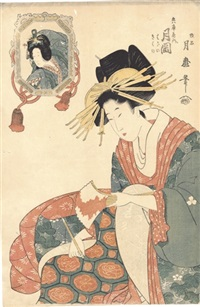 the courtesan hyogoyanai tsukioka (+ the courtesan matsubayanai ichikawa; 2 works) by tsukimaro