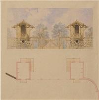 projet de barrière avec pavillons de jardin (3 works) by jules exbrayat