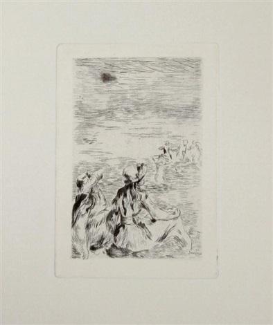 sur la plage a bernaval by pierre auguste renoir