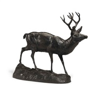 standing stag by edward kemeys