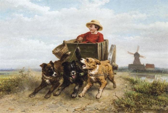 garçon avec charrette à chiens by henriette ronner knip