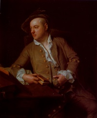 portrait of a gentleman seated at a desk with various books, wearing a brown coat and a white shirt, holding a book in his right hand by adriaen carpentiers