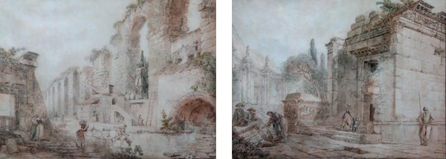 lavandière et paysans dans des ruines et promeneurs dans les ruines dun temple antique pair by hubert robert