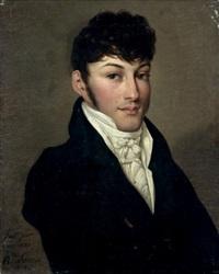 portrait d'un jeune homme en habit noir by hippolyte lecomte