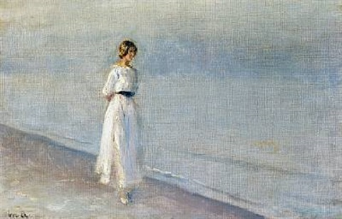 young girl in a white dress walking on skagen sønderstrand by michael peter ancher