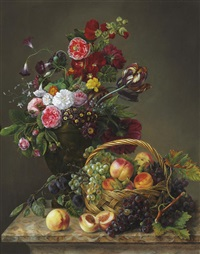 still life with peaches and grapes by jeanne marie joséphine hellemans
