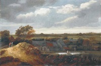 a view of the bleaching grounds near haarlem, with figures on a path, the church of saint bravo beyond by guillam dubois
