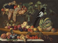 peaches, plums and a melon on a wooden table, with a magpie, apples, grapes and other fruit in the background on a stone ledge, ovoli mushrooms... by agostino verrocchi