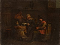a scene at the tavern (a pair of paintings with tavern scenes from the period.) by jan miense molenaer