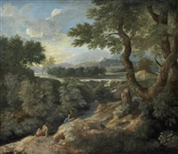 figures conversing in an arcadian landscape, with a walled city in the distance by gaspard dughet