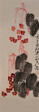 秋海棠图 begonias by qi baishi