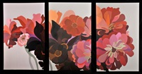 dahlias and zinnias triptych by laura grosch