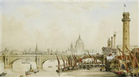 the south shore of the thames in london, looking across waterloo bridge towards st. pauls by james kelaway colling