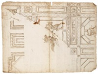 winged figures, a soldier on horseback, and grotesque designs (recto-verso)(design for a ceiling decoration) by perino del vaga