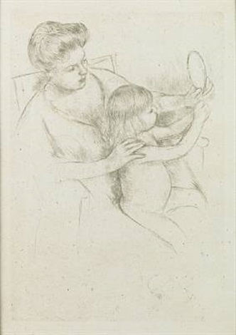 looking into the hand mirror no 2 by mary cassatt