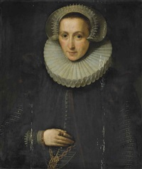 portrait of a lady, traditionally identified as susanna van vlierden (1567-1626), half-length, in a black dress with a stomacher, wearing a gold chain... by gortzius geldorp