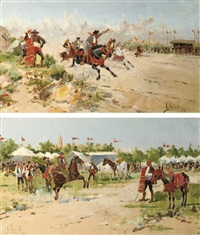 a horse race in andalucia (+ festivities in sevilla; pair) by mariano obiols delgado