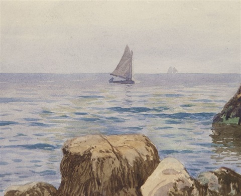 coastal view with sailboats by alfred thompson bricher