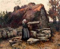 jeune bretonne à la fontaine portant la coiffe de guémené-sur-scorff by michel korochansky