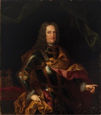 portrait de l'empereur charles vi (1685-1740) en armure, avec l'ordre de la toison d'or et la couronne du saint empire romain germanique by johann gottfried auerbach
