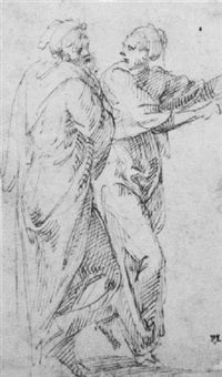 two draped figures, one gesturing to the right by vincenzo di benedetto tamagni