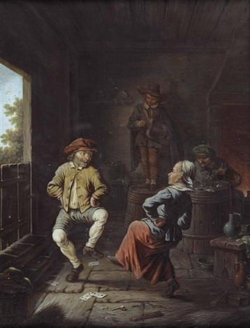 interieur mit tanzendem bauernpaar und einem musikanten by david teniers the younger