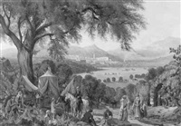 american camp in the levant, with views of distant plains and hill town by george a. tirrell