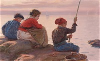 drei kinder beim angeln by dionisio baixeras y verdaguer