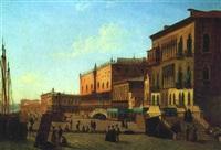 riva degli schiavone in venedig, mit reicher figürlicher staffage by alexandre raulin